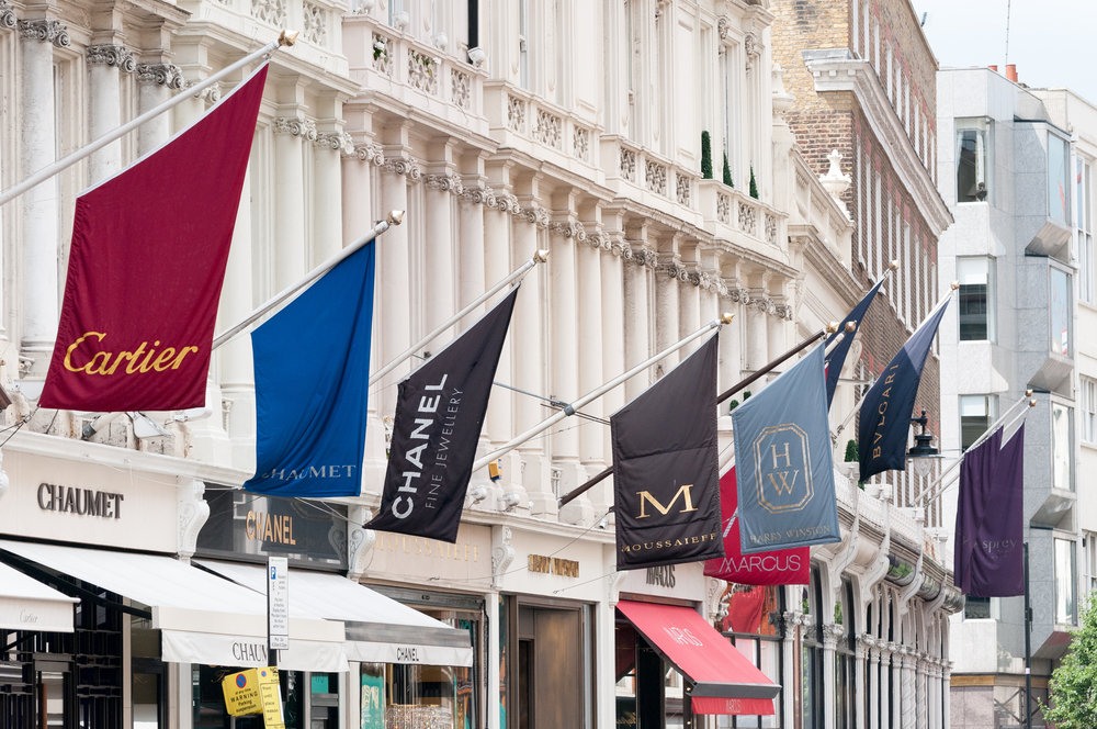 The high-end shops and stores of Bond Street