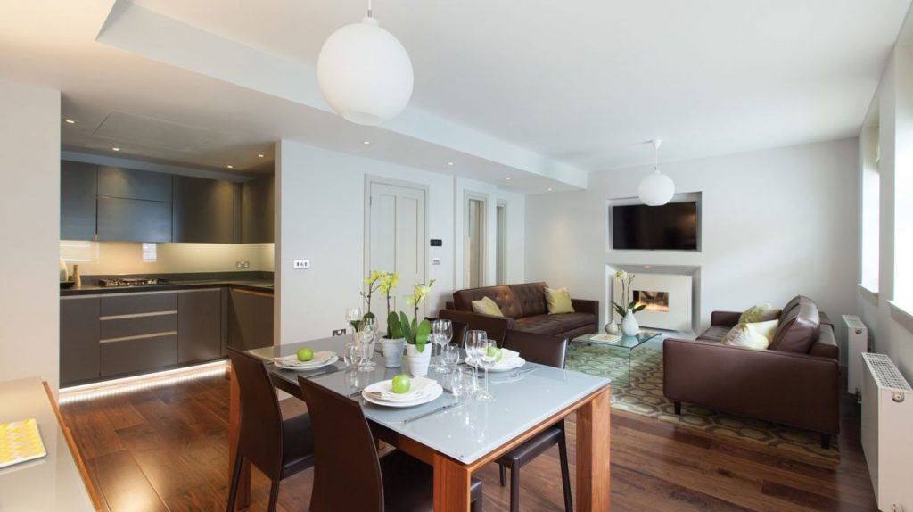 Exclusive London serviced apartment living and dining area