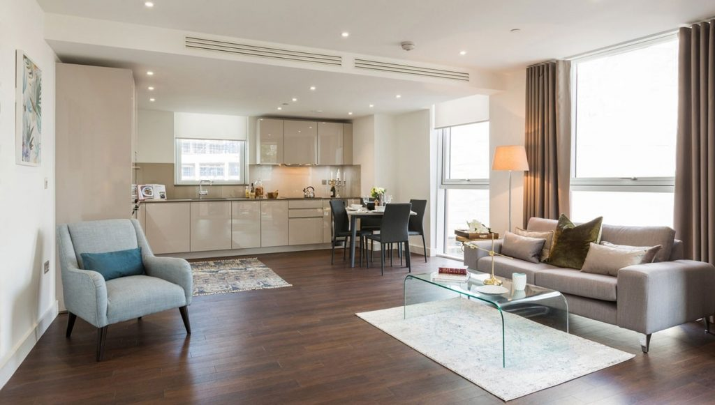 A Nine Elms Apartment Living space in London
