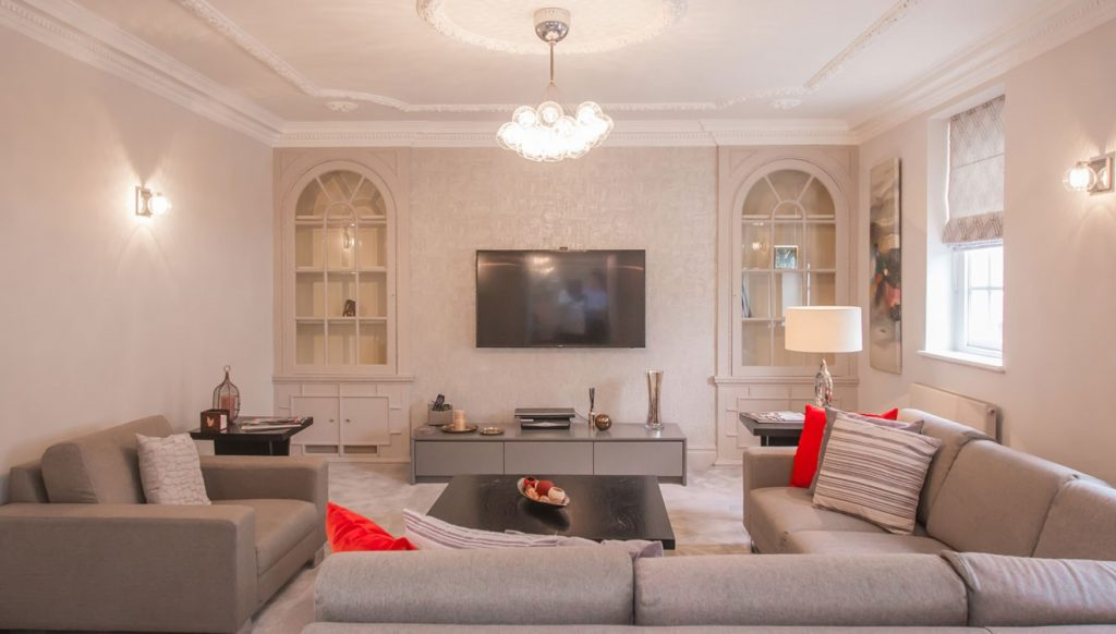 The spacious living area at the well-sized City Pads Mayfair