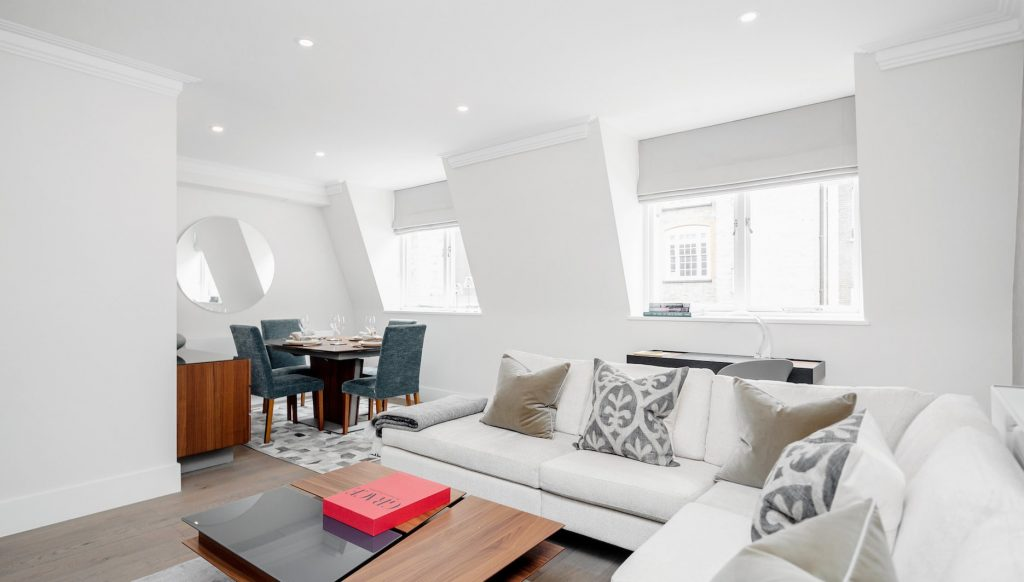 Living area, Mayfair Mews Apartments.