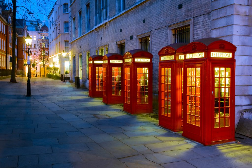K2 telephone boxes in Covent Garden