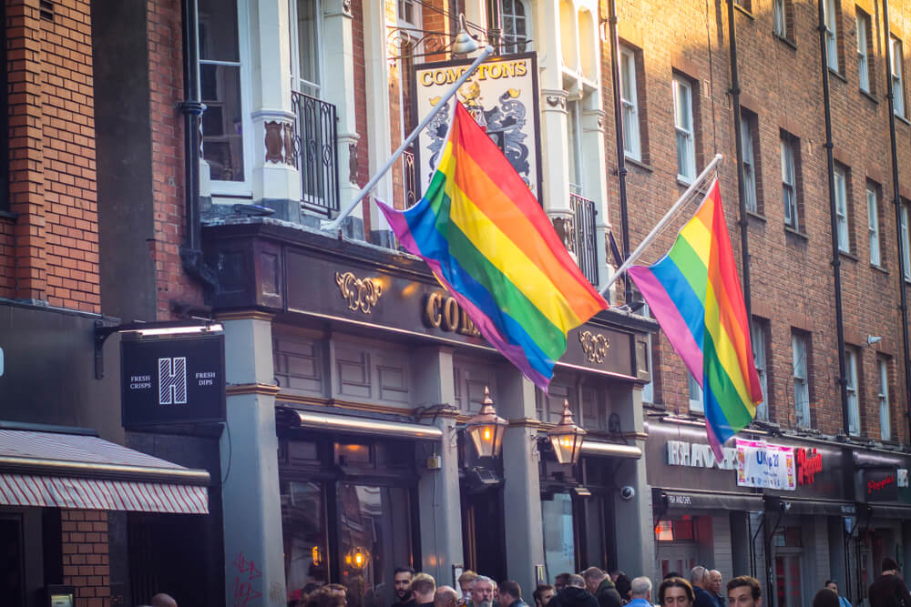Gay pride flags on Old Compton Street, Soho