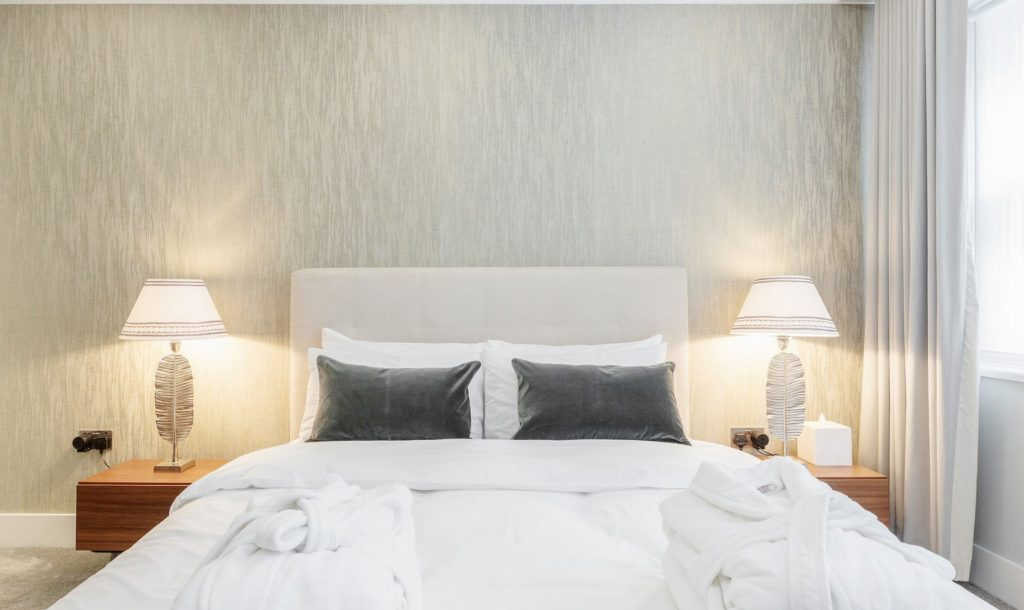 Wonderfully decorated bedroom at Mayfair Mews