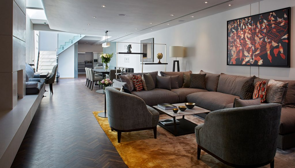 Luxury living area at Cheval Knightsbridge