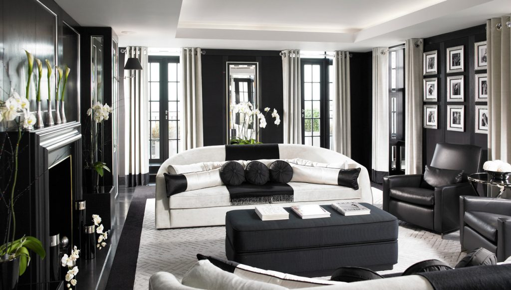 The black and white luxury interior at Grovesnor Penthouse Apartments