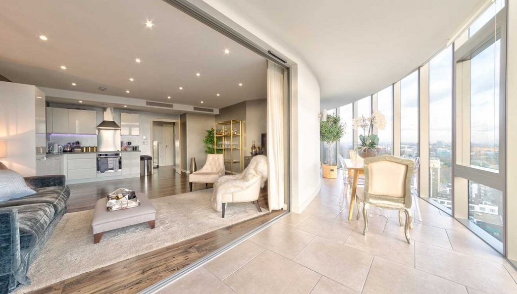 Luxury interior at Penthouse Kew Eye apartments near Richmond