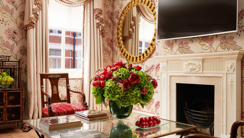 Opulent decor and striking wallpaper in the Milestone Apartments